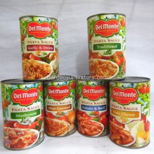 Del monte pasta sauce(garlic & onion)(traditional)(mushroom)(meat flavored)(tomato & basil)(four cheese)-4.25(16)
